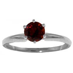 Genuine 0.65 ctw Garnet Ring Jewelry 14KT White Gold - REF-26X9M