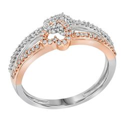 0.20 CTW Diamond Double Heart Ring 10KT Two-tone Gold - REF-19H4M