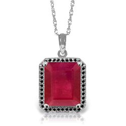 Genuine 7.45 ctw Ruby & Black Diamond Necklace Jewelry 14KT White Gold - REF-105R5P