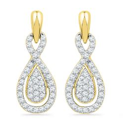0.33 CTW Diamond Oval-shape Dangle Screwback Earrings 10KT Yellow Gold - REF-28H4M