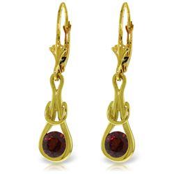 Genuine 1.30 ctw Garnet Earrings Jewelry 14KT Yellow Gold - REF-49W3Y