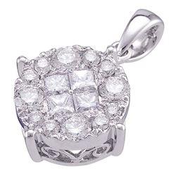 1 CTW Princess Diamond Soleil Cluster Pendant 14K White Gold - REF-101Y9X