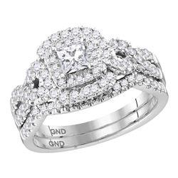 1 CTW Princess Diamond Halo Bridal Engagement Ring 14KT White Gold - REF-142N4F