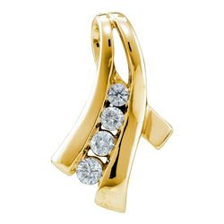 0.33 CTW Diamond Graduated Fashion Pendant 14KT Yellow Gold - REF-44K9W