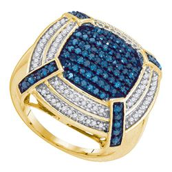 0.75 CTW Blue Color Diamond Corner Cluster Ring 10KT Yellow Gold - REF-61W5K
