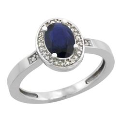 Natural 1.08 ctw Blue-sapphire & Diamond Engagement Ring 10K White Gold - REF-28M5H