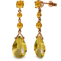Genuine 13.2 ctw Citrine Earrings Jewelry 14KT Rose Gold - REF-39H3X