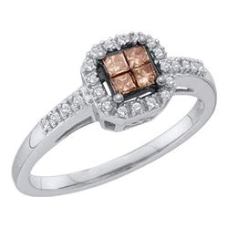 0.25 CTW Princess Cognac-brown Color Diamond Ring 10KT White Gold - REF-22K4W