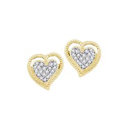0.10 CTW Diamond Milgrain Heart Cluster Earrings 10KT Yellow Gold - REF-14K9W
