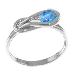Genuine 0.65 ctw Blue Topaz Ring Jewelry 14KT White Gold - REF-47K2V