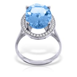 Genuine 7.58 ctw Blue Topaz & Diamond Ring Jewelry 14KT White Gold - REF-85Y2F