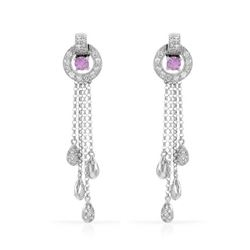 1.05 CTW Pink Sapphire & Diamond Earrings 14K White Gold - REF-61F7N
