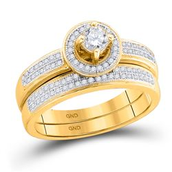 0.50 CTW Diamond Halo Bridal Engagement Ring 10KT Yellow Gold - REF-75H2M