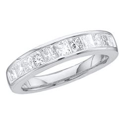 0.50 CTW Princess Channel-set Diamond Single Row Ring 14KT White Gold - REF-44H9M