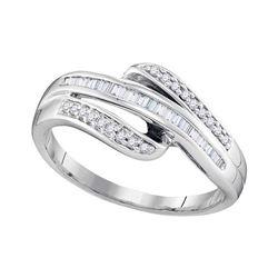 0.20 CTW Diamond Triple Row Ring 10KT White Gold - REF-19Y4X