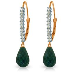 Genuine 6.9 ctw Green Sapphire Corundum & Diamond Earrings Jewelry 14KT Rose Gold - REF-54A5K