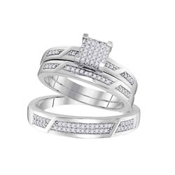 0.33 CTW His & Hers Diamond Cluster Matching Bridal Ring 10KT White Gold - REF-48K7W