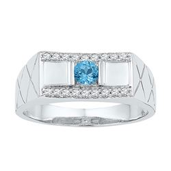 0.53 CTW Mens Created Blue Topaz Diamond Ring 10KT White Gold - REF-36F2N