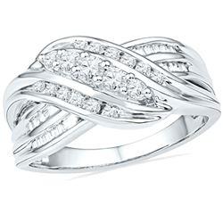 0.50 CTW Diamond 5-Stone Crossover Ring 10KT White Gold - REF-47M9H