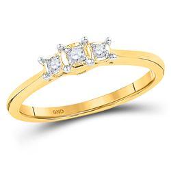 0.08 CTW Diamond 3-stone Bridal Engagement Ring 10KT Yellow Gold - REF-14W9K