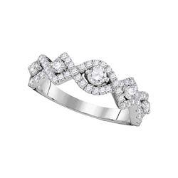 0.80 CTW Diamond Woven Ring 14KT White Gold - REF-104M9H
