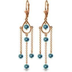 Genuine 3 ctw Blue Topaz Earrings Jewelry 14KT Rose Gold - REF-48K9V