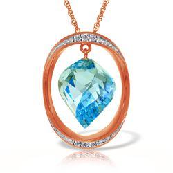 Genuine 14 ctw Blue Topaz & Diamond Necklace Jewelry 14KT Rose Gold - REF-127A3K