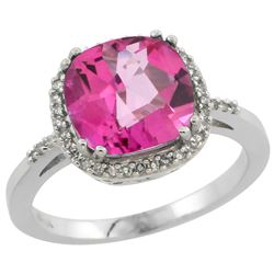 Natural 4.11 ctw Pink-topaz & Diamond Engagement Ring 10K White Gold - REF-34R3Z