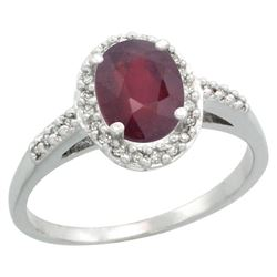 Natural 1.6 ctw Ruby & Diamond Engagement Ring 14K White Gold - REF-33A2V