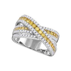 1.45 CTW Canary Yellow Diamond Crossover Fashion Ring 14KT White Gold - REF-172N4F