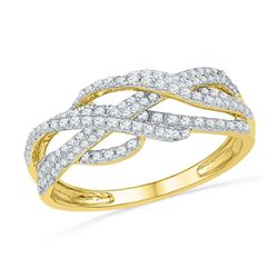 0.50 CTW Diamond Woven Crossover Ring 10KT Yellow Gold - REF-30X2Y