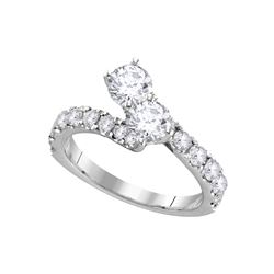 1.98 CTW Diamond 2-stone Bypass Bridal Wedding Engagement Ring 14KT White Gold - REF-299X9Y