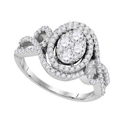 1.07 CTW Diamond Oval Halo Cluster Bridal Engagement Ring 10KT White Gold - REF-134Y9X