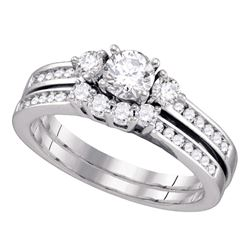 1 CTW Diamond Bridal Wedding Engagement Ring 14KT White Gold - REF-149N9F