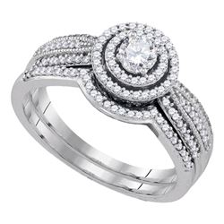 0.50 CTW Diamond Bridal Wedding Engagement Ring 10KT White Gold - REF-59Y9X