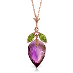 Genuine 10 ctw Amethyst & Peridot Necklace Jewelry 14KT Rose Gold - REF-28V9W