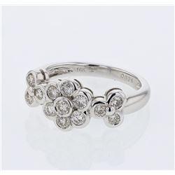 0.74 CTW Diamond Ring 14K White Gold - REF-66F8N