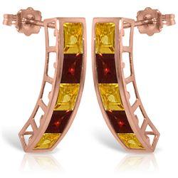 Genuine 4.5 ctw Citrine & Garnet Earrings Jewelry 14KT Rose Gold - REF-38M5T