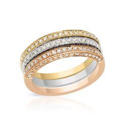 1.15 CTW Diamond Band Ring 14K Tri-Color Gold - REF-99R3K