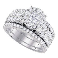 1.5 CTW Princess Diamond Soleil Bridal Engagement Ring 14KT White Gold - REF-165N2F