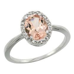 Natural 1.22 ctw Morganite & Diamond Engagement Ring 14K White Gold - REF-31W5K