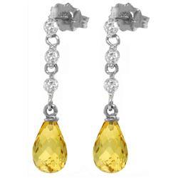 Genuine 3.3 ctw Citrine & Diamond Earrings Jewelry 14KT White Gold - REF-42V9W