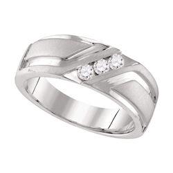0.25 CTW Mens Diamond Wedding Anniversary Ring 10KT White Gold - REF-67X4Y