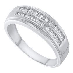 0.25 CTW Mens Diamond 2-row Wedding Anniversary Ring 14KT White Gold - REF-37H5M