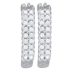0.25 CTW Pave-set Diamond Huggie Hoop Earrings 10KT White Gold - REF-16M4H