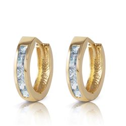 Genuine 0.85 ctw Aquamarine Earrings Jewelry 14KT Yellow Gold - REF-38W5Y