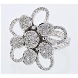 0.95 CTW Diamond Ring 18K White Gold - REF-173X9R
