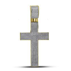 0.90 CTW Mens Pave-set Diamond Crhstian Cross Charm Pendant 10KT Yellow Gold - REF-89X9Y