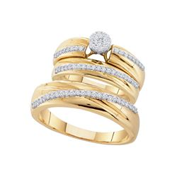 0.40 CTW His & Hers Diamond Cluster Matching Bridal Ring 10KT Yellow Gold - REF-71K9W