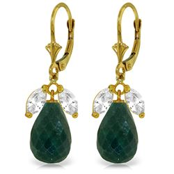 Genuine 18.6 ctw White Topaz & Green Sapphire Earrings Jewelry 14KT Yellow Gold - REF-46T7A